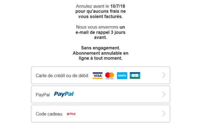 Comment obtenir le compte Netflix gratuit officiel - moyen de paiment