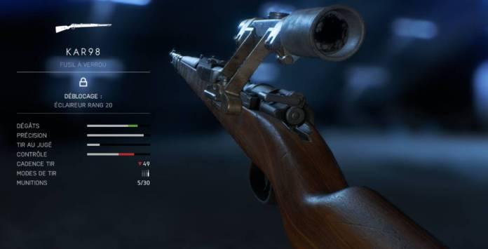 BF5 Meilleures Armes - éclaireur - KAR98