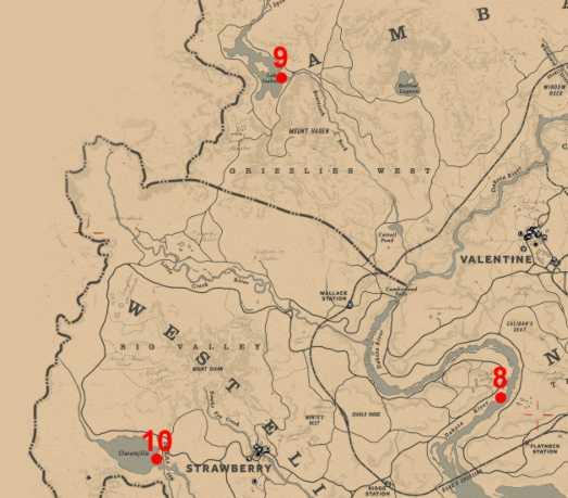 RDR2 Carte Emplacements Poissons Légendaires - zoom 8 9 10