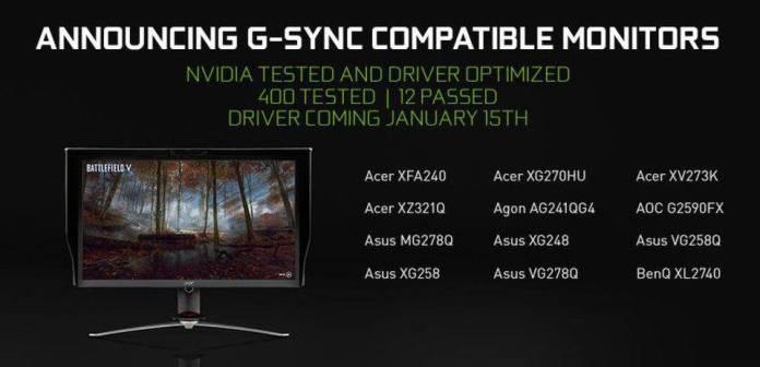 Nvidia annonce l'activation du G-Sync sur les écrans non G-Sync