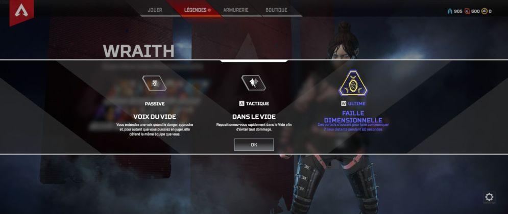 Wraith capacités - Apex Legends