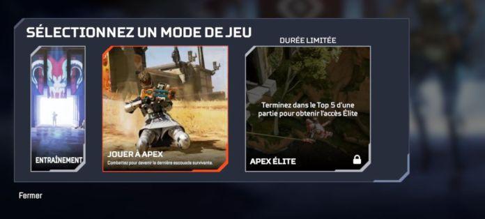 Mode de jeu Apex Elite