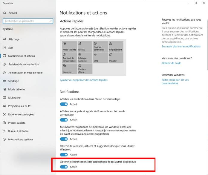 Windows 10 - Désactiver Obtenir les notifications des applications et des autres expériteurs