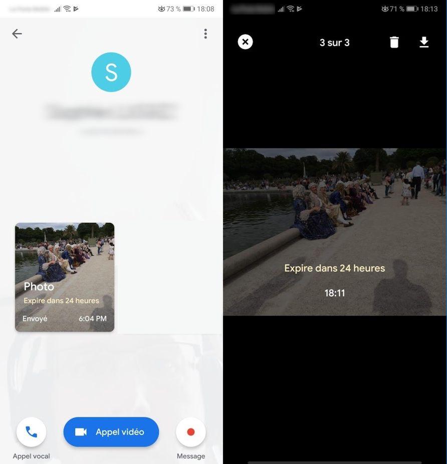 envoyez des photos prévues pour s'autodétruire avec Google Duo