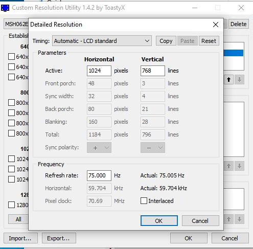 CRU - augmenter la fréquence de rafraichissement d'un écran PC - Détailed Resolution