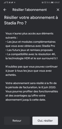 3 - résilier abonnement Stadia Pro sur mobile - étape 3