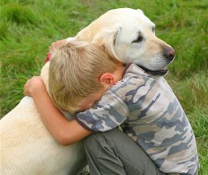 boy hugging labrador dog
