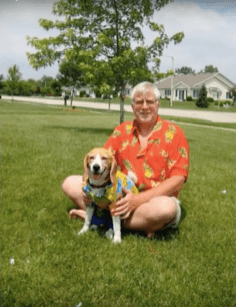 Dad and dog in hawaian shirts