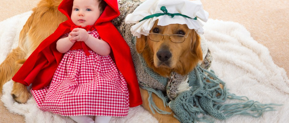 Baby Little Red Riding Hood with wolf dog as grandma