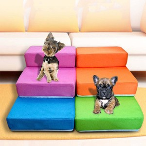 Pet Stair 2 Step Portable Puppy Dog Cat Soft Indoor Sofa Bed Folding Ramp Ladder Pet Bed