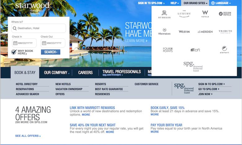 Screenshot of the Starwood website homepage where you can select a brand to find out the code that can get you a discount on the second room