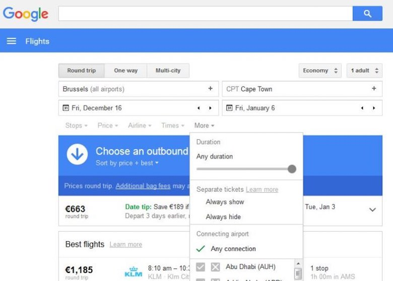 Screenshot of Google flight search to show how flexibility in date can help in order to save on airfare
