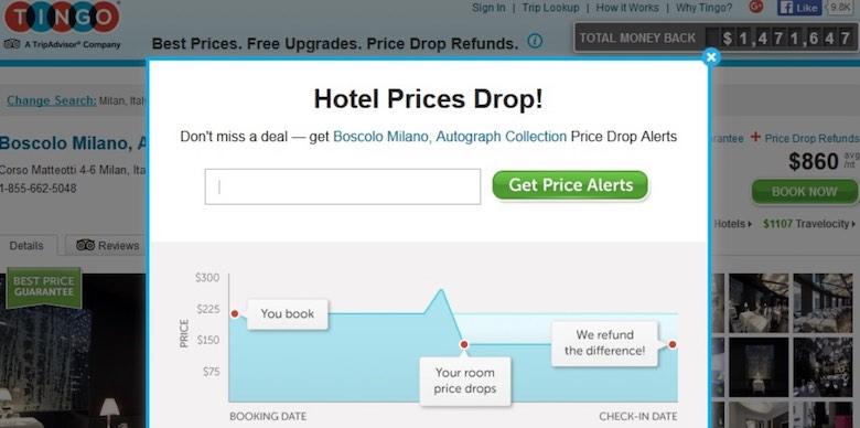 Screenshot of the price drop alert pop-up window on the Tingo website