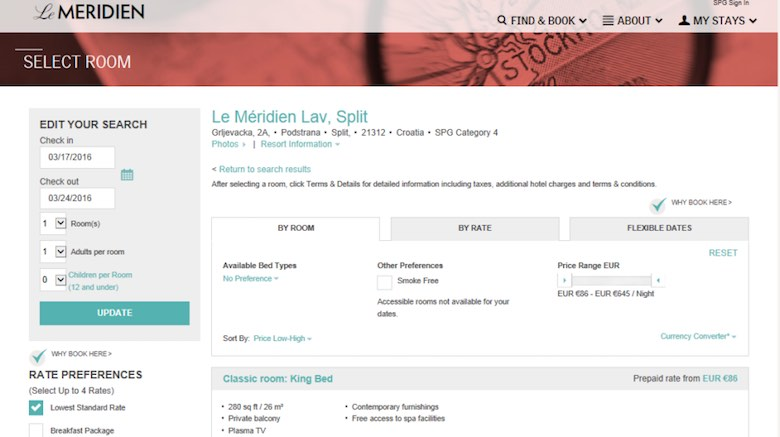 Screenshot of a Le Méridien booking page