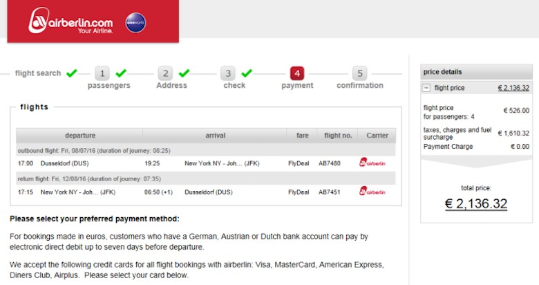 Screenshot of an Air Berlin booking page with departure from Düsseldorf, for comparison reasons, stating a total price of €2136,32 for 2 adults and 2 kids
