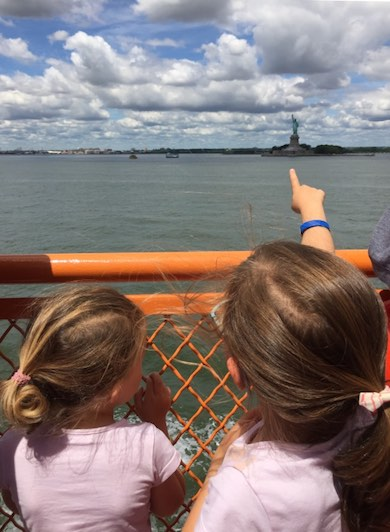 Lady liberty from the Staten Island ferry with kids