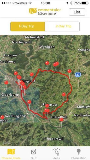 Overview of the Emmentaler route by e-bike in 1 day from the app