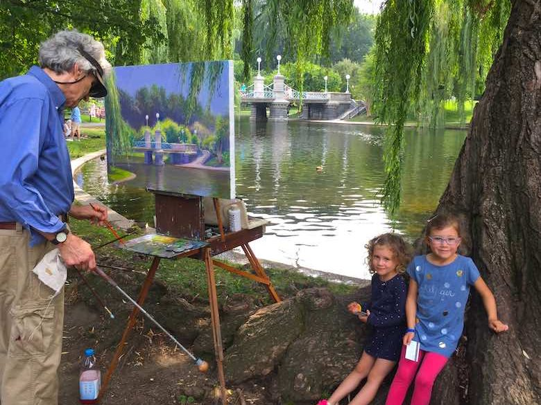 Two CosmopoliClan sisters observing Boston painter David H. Lowry in Boston's Public Garden