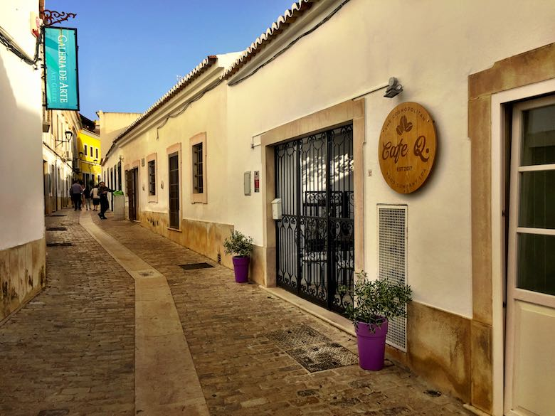 A picturesque street in the centre of Loule in authentic Algarve in Portugal