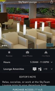 Screenshot from the LoungeBuddy app, because enjoying the amenities of a lounge is a great idea during a layover or stopover
