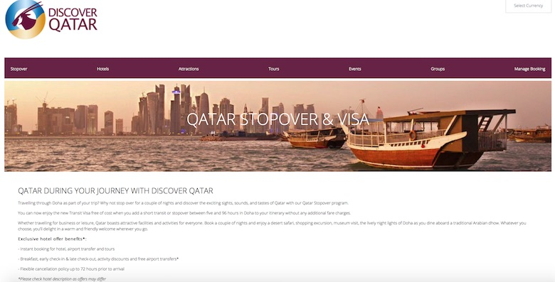 Screenshot of Qatar Airways' stopover program