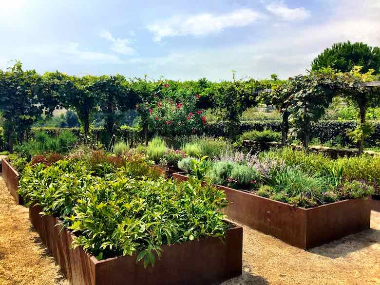 Lush flower and herb garden at the Palazzo di Varignana Resort & Spa near Bologna