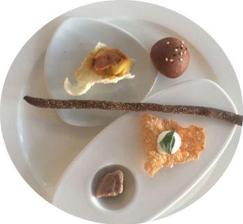 Hors d'oeuvres at restaurant Il Palazzo atPalazzo di Varignana Resort & Spa near Bologna