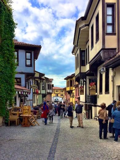 A cozy and colorful street in Odunpazarı in Eskişehir, Turkey