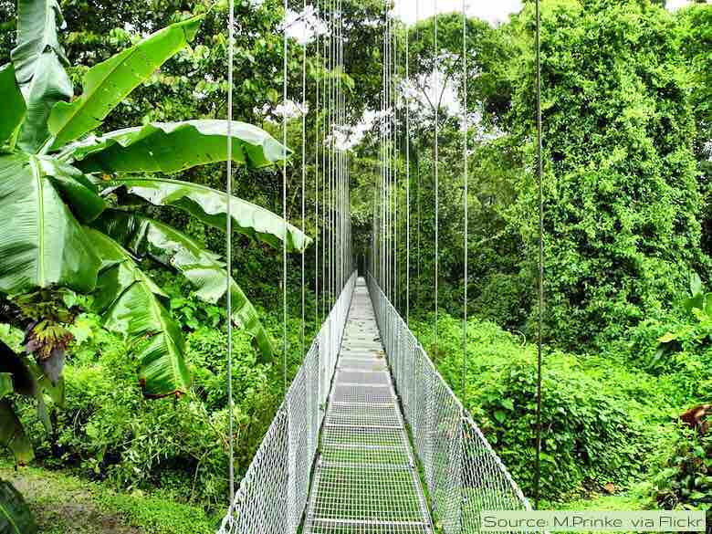 Hanging bridge near the Arenal volcano in Costa Rica