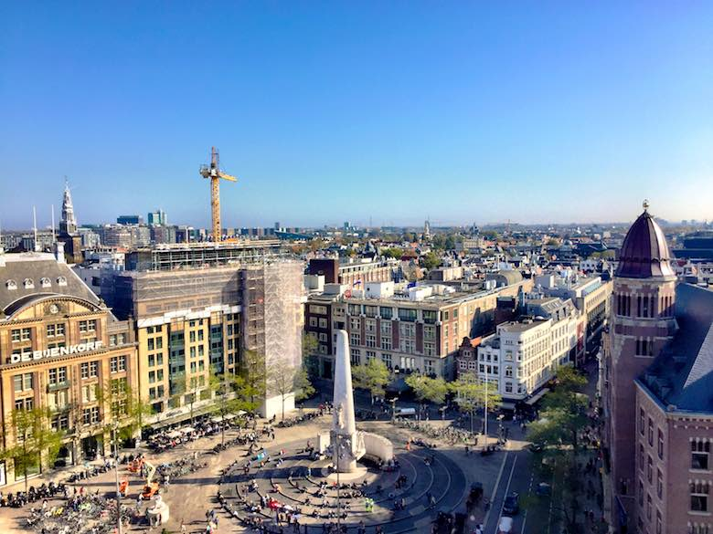 A view of Amsterdam from the giant wheel on the fun fair at the Dam