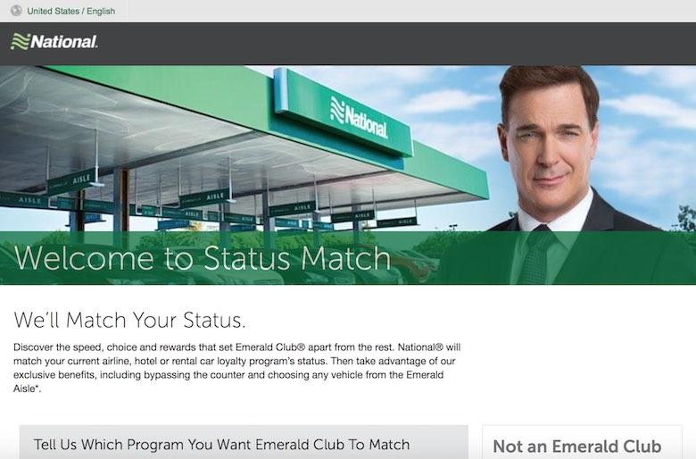 Screenshot of a National Emerald Club status match offer