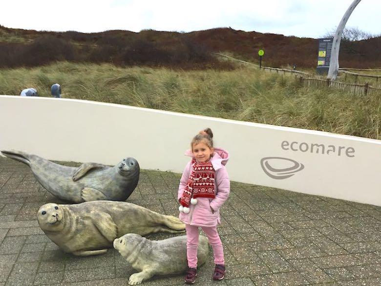 Meisje in roze jas ontmoet de zeehonden standbeelden bij Ecomare tijdens een uitje naar Texel met het gezin