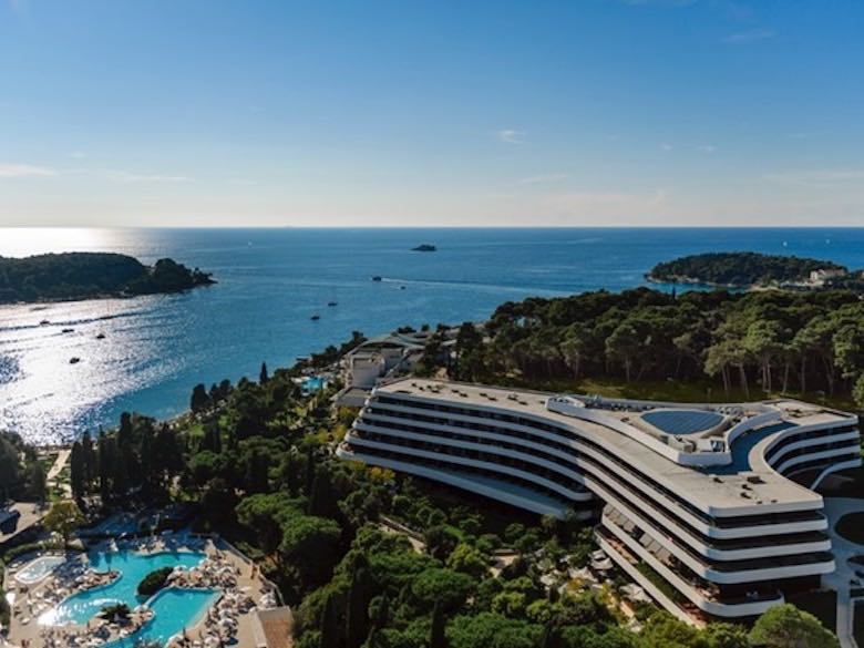 Aerial view of Hotel Lone in Rovinj, Croatia featured in this article with family-friendly luxury resorts in the Mediterranean