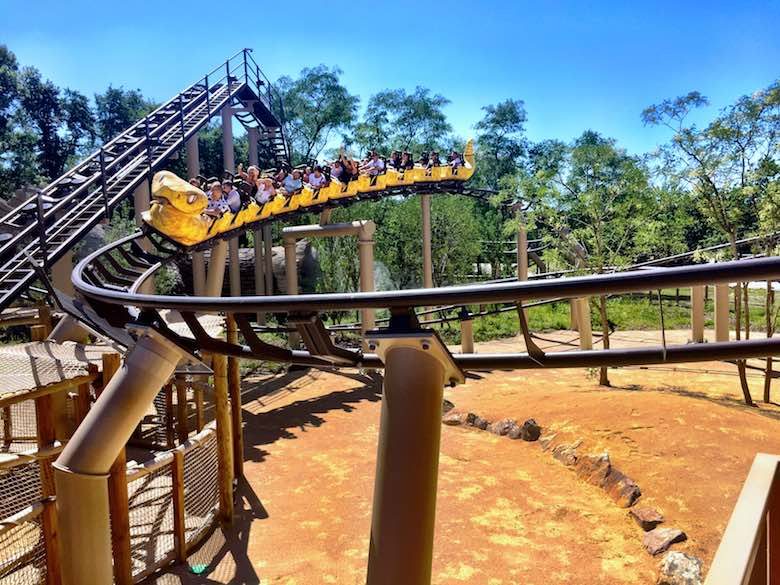 Snake-themed rollercoaster in the theme park Parc du Petit Prince