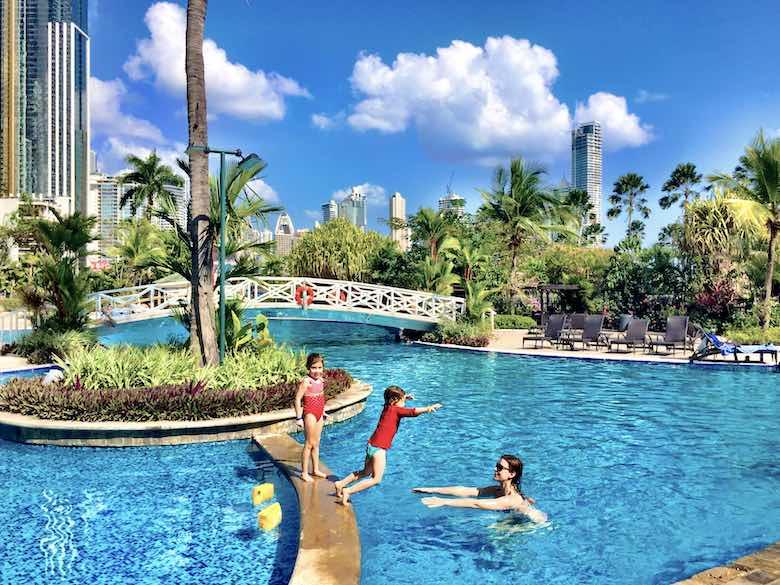 CosmopoliClan having fun in the pool of the InterContinental Miramar in Panama City, Panama