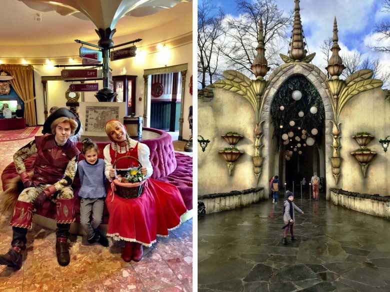Links ontmoet een klein meisje Roodkapje en e Gelaarsde Kat in het Efteling hotel, rechts staat een ander meisje voor de ingang van de attractie Droomvlucht in de Efteling
