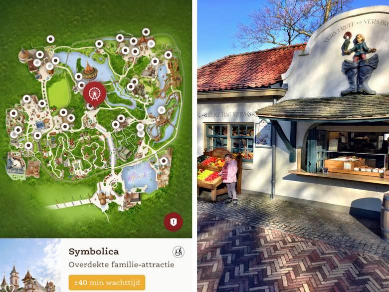Screenshot van de Efteling app en restaurant in het park