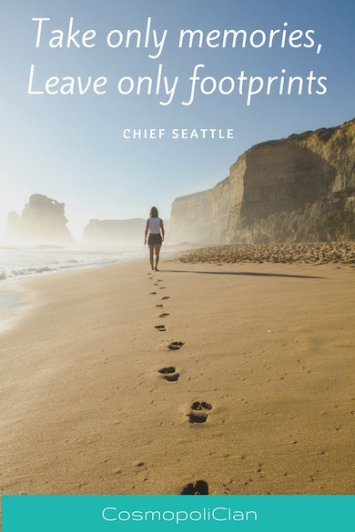"""""""Take only memories, leave only footprints."""" – Chief Seattle. Image of footsprints in the sand with wanderlust quote to spark family travel"""