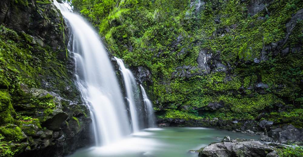 The Upper Waikanu Falls, one of the most impressive Road to Hana stops