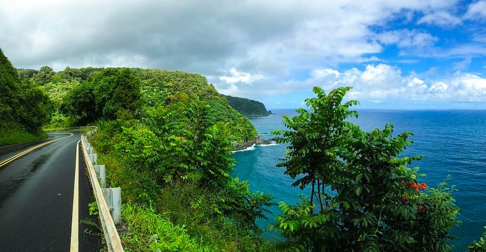 This legendary, winding Hana highway is called the Road to Hana and offers some gorgeous ocean views over the Maui east coast