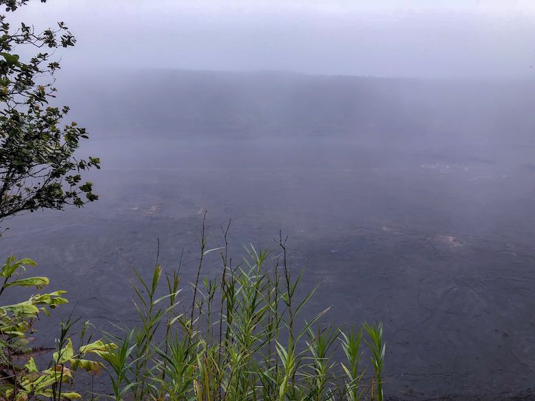 Foggy start of our Kilauea Iki hike, the best Big Island