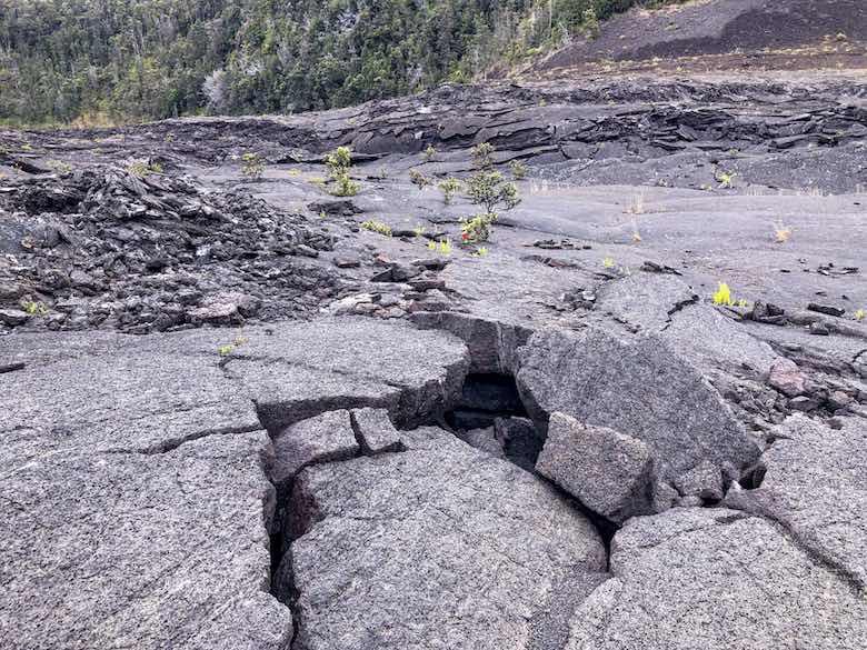Cracks on the Kilauea crater floor on Hawaii Big Island
