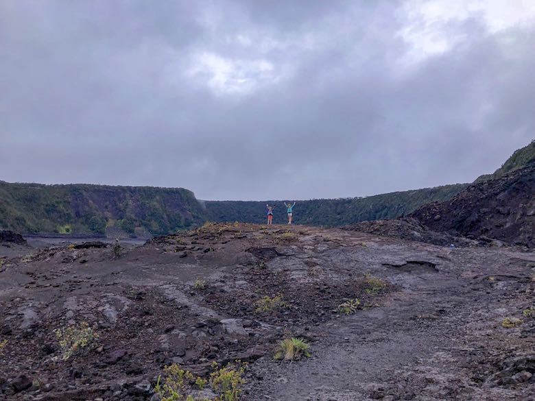 Happy to have reached the Kilauea crater in Hawaii Volcanoes National Park