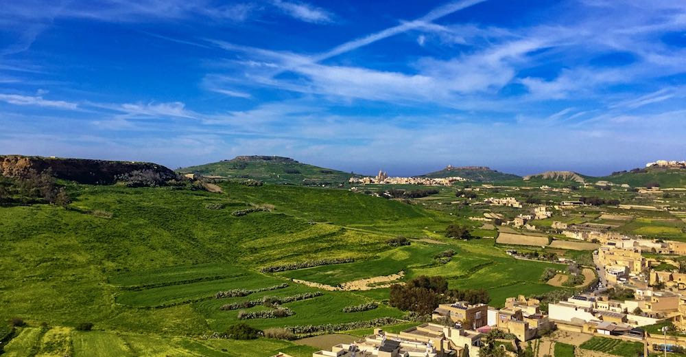 Rolling hills of Gozo as seen from the Ciutadella in Victoria