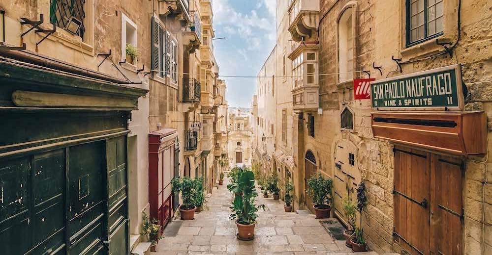 The narrow streets of Valletta in Malta