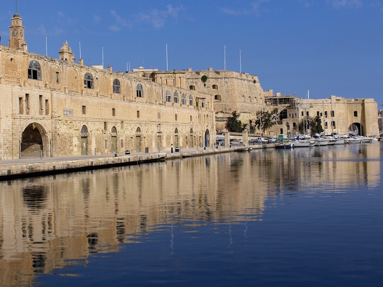 A view over Cospicua or Bormla from the harbour
