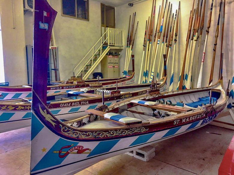 Regatta boat in the clubhouse of Cospicua or Bormla