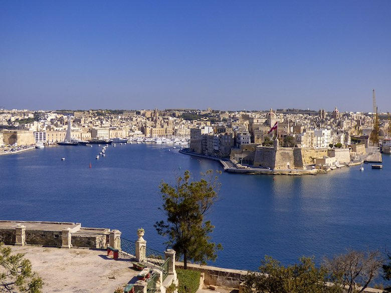 Grand Harbour views over Three Cities Malta from an outlook in Valletta