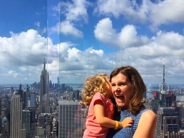 Mother and daughter moment on Top of the Rock in NYC
