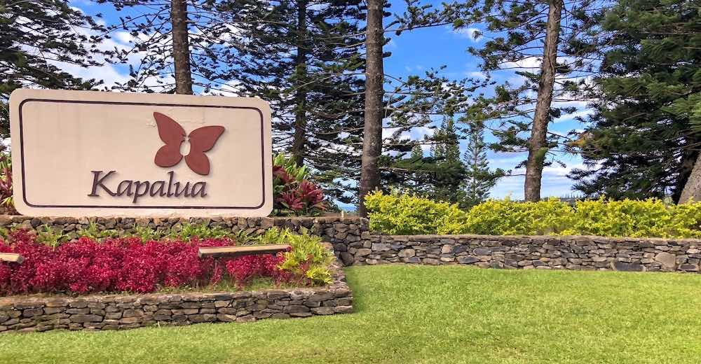 The Kapalua welcome sign in a manicured garden setting, a great option if you're deciding on where to stay in Maui